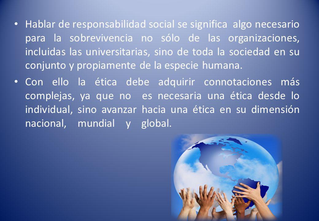 Hablar de responsabilidad social se significa algo necesario para la sobrevivencia no sólo de las organizaciones, incluidas las universitarias, sino de toda la sociedad en su conjunto y propiamente de la especie humana.