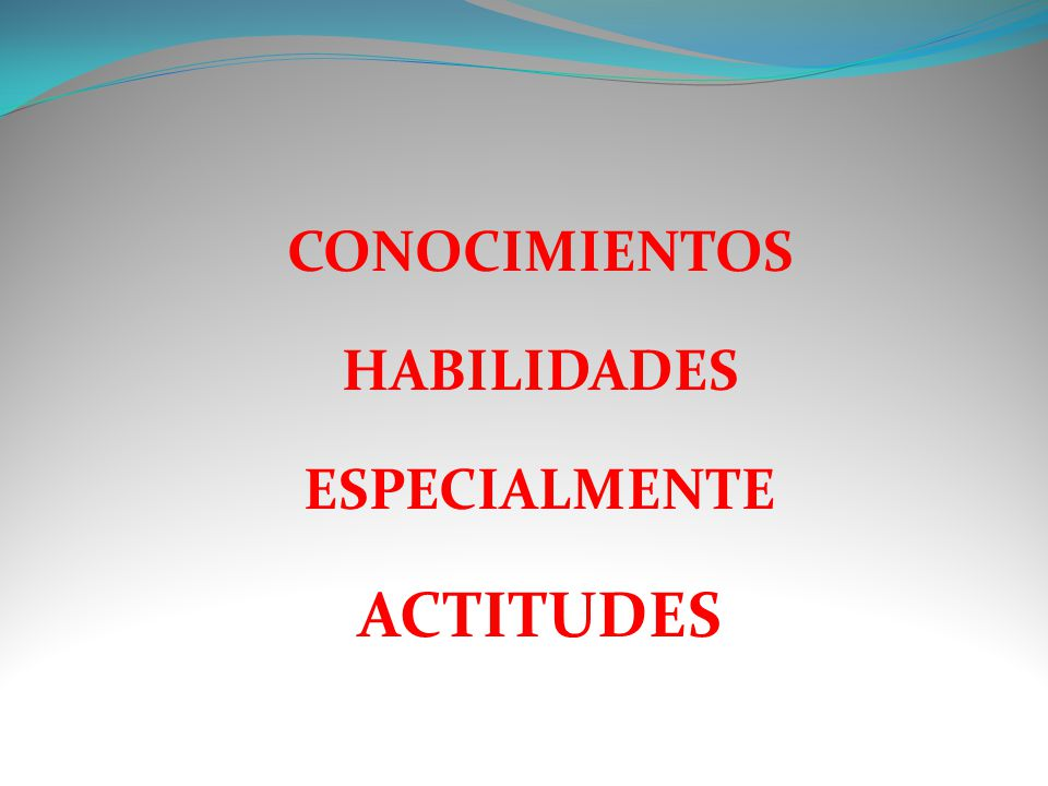 CONOCIMIENTOS HABILIDADES ESPECIALMENTE ACTITUDES
