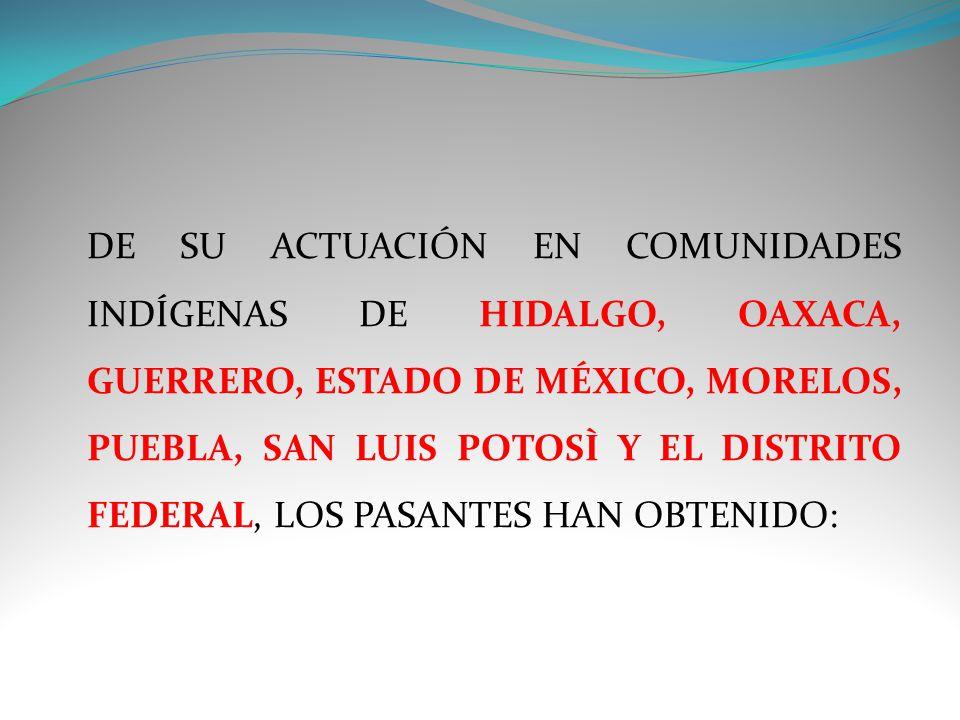 DE SU ACTUACIÓN EN COMUNIDADES INDÍGENAS DE HIDALGO, OAXACA, GUERRERO, ESTADO DE MÉXICO, MORELOS, PUEBLA, SAN LUIS POTOSÌ Y EL DISTRITO FEDERAL, LOS PASANTES HAN OBTENIDO: