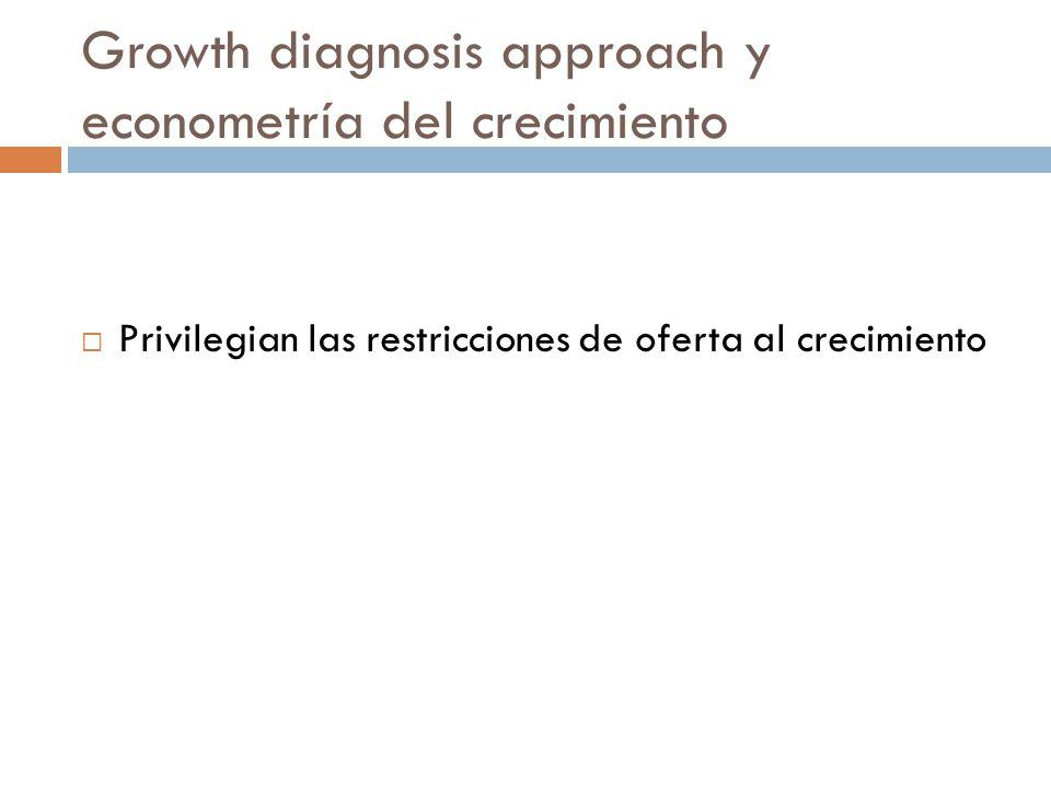 Growth diagnosis approach y econometría del crecimiento Privilegian las restricciones de oferta al crecimiento