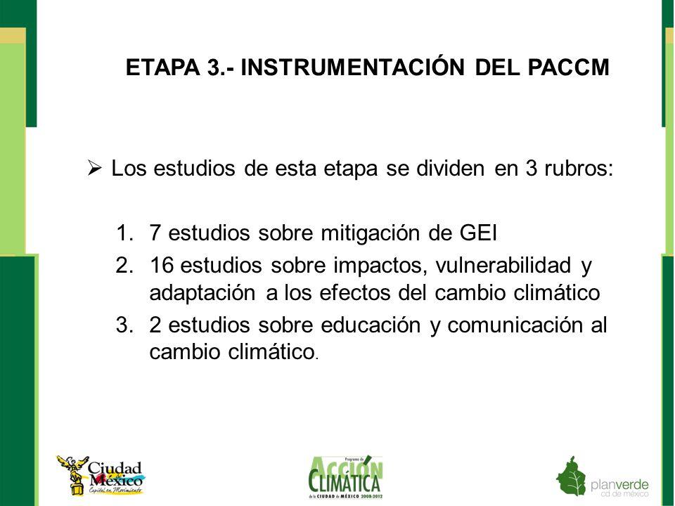 ETAPA 3.- INSTRUMENTACIÓN DEL PACCM Los estudios de esta etapa se dividen en 3 rubros: 1.7 estudios sobre mitigación de GEI 2.16 estudios sobre impact