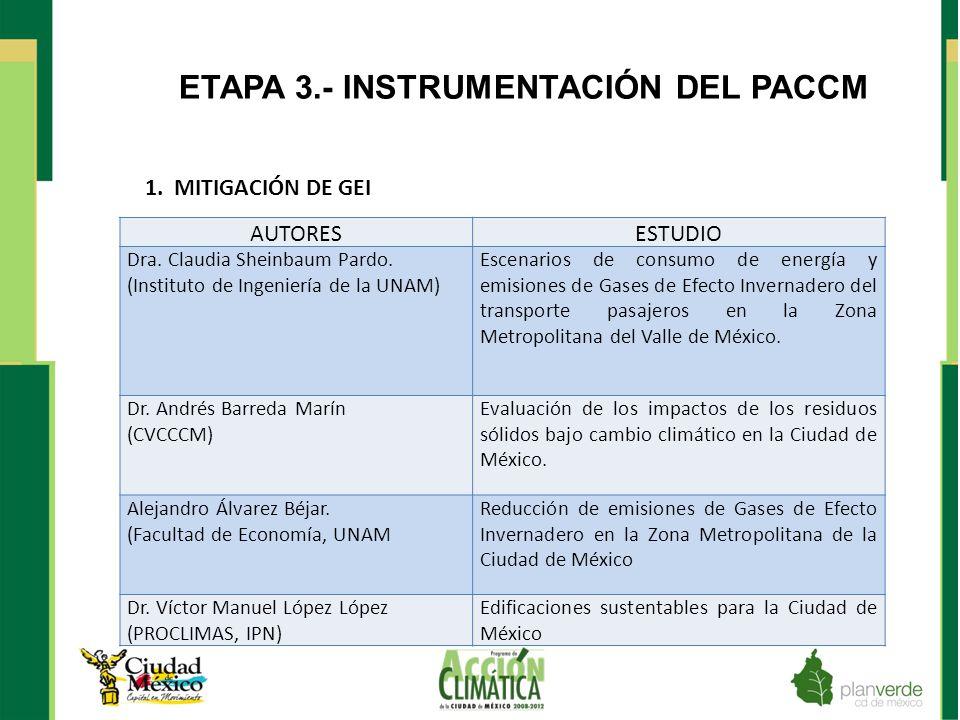 ETAPA 3.- INSTRUMENTACIÓN DEL PACCM AUTORESESTUDIO Dra. Claudia Sheinbaum Pardo. (Instituto de Ingeniería de la UNAM) Escenarios de consumo de energía