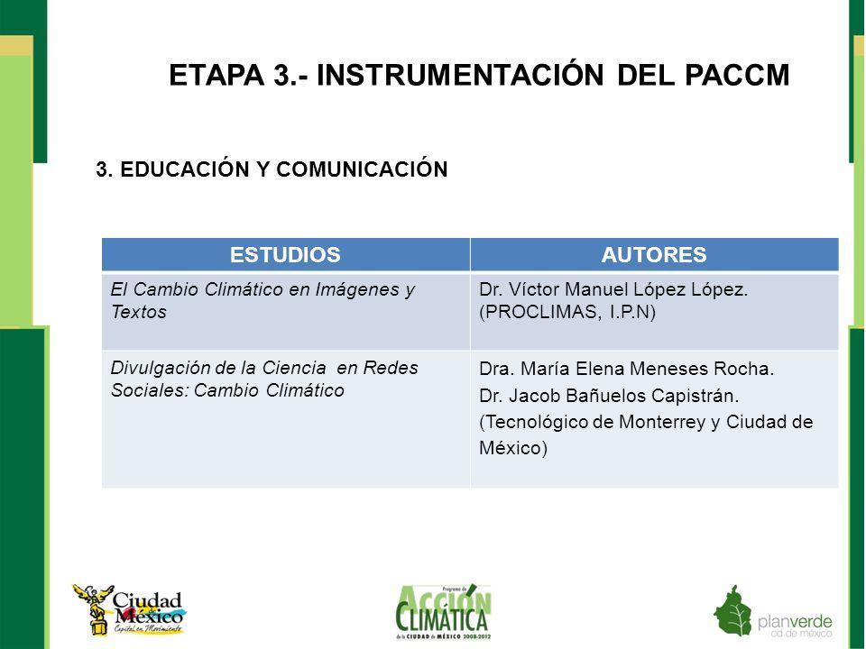ETAPA 3.- INSTRUMENTACIÓN DEL PACCM 3. EDUCACIÓN Y COMUNICACIÓN ESTUDIOSAUTORES El Cambio Climático en Imágenes y Textos Dr. Víctor Manuel López López