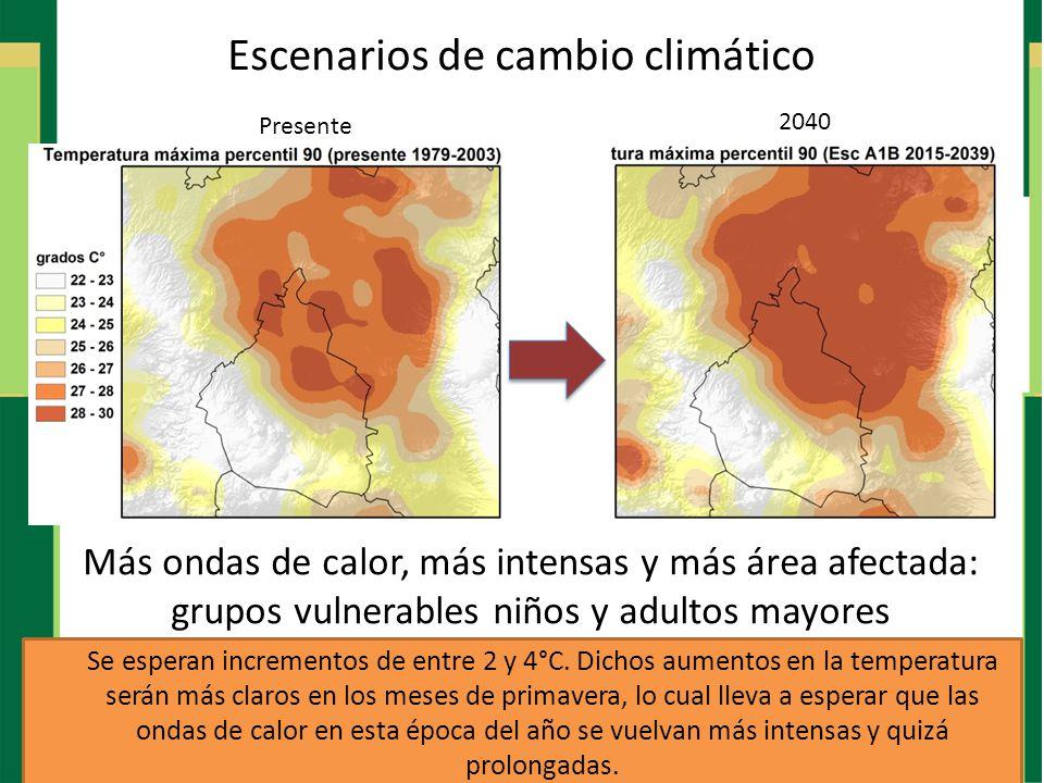 Más ondas de calor, más intensas y más área afectada: grupos vulnerables niños y adultos mayores Presente 2040 Escenarios de cambio climático Se esper