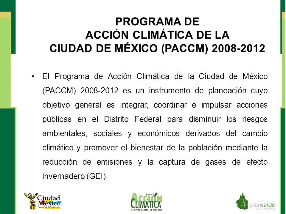 JUSTIFICACIÓN Para integrar el PACCM 2008-2012 fue necesario elaborar diferentes estudios y proyectos que contribuyeron a los siguientes objetivos: 1.Al diseño adecuado de medidas y acciones específicas en las áreas de energías, agua, manejo de residuos y transporte público cuyo objetivo es la reducción de gases de efecto invernadero.