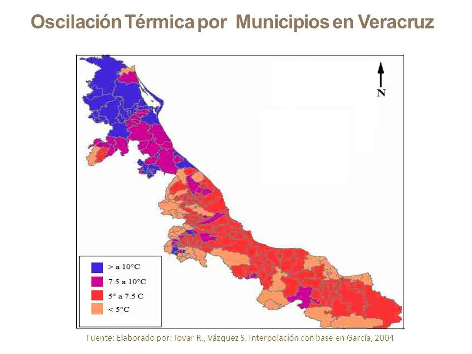 Oscilación Térmica por Municipios en Veracruz Fuente: Elaborado por: Tovar R., Vázquez S. Interpolación con base en García, 2004