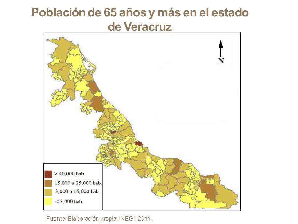 Población de 65 años y más en el estado de Veracruz Fuente: Elaboración propia. INEGI, 2011.