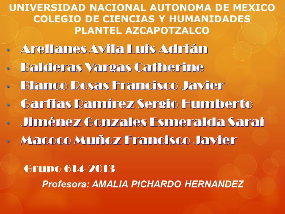 Profesora: AMALIA PICHARDO HERNANDEZ UNIVERSIDAD NACIONAL AUTONOMA DE MEXICO COLEGIO DE CIENCIAS Y HUMANIDADES PLANTEL AZCAPOTZALCO Arellanes Avila Lu