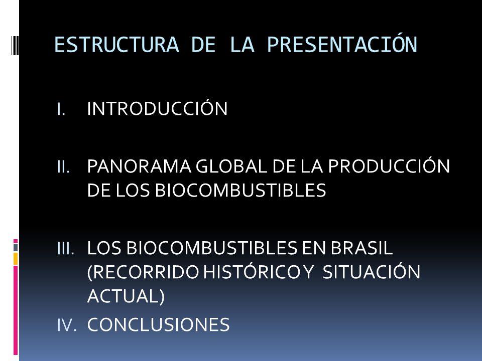 ESTRUCTURA DE LA PRESENTACIÓN I. INTRODUCCIÓN II. PANORAMA GLOBAL DE LA PRODUCCIÓN DE LOS BIOCOMBUSTIBLES III. LOS BIOCOMBUSTIBLES EN BRASIL (RECORRID