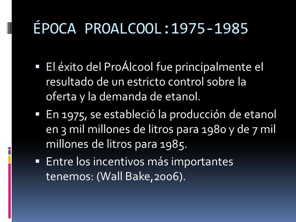 ÉPOCA PROALCOOL:1975-1985 El éxito del ProÁlcool fue principalmente el resultado de un estricto control sobre la oferta y la demanda de etanol. En 197
