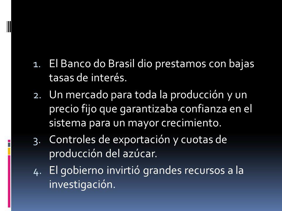 1. El Banco do Brasil dio prestamos con bajas tasas de interés. 2. Un mercado para toda la producción y un precio fijo que garantizaba confianza en el