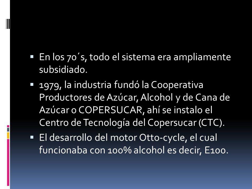 En los 70´s, todo el sistema era ampliamente subsidiado. 1979, la industria fundó la Cooperativa Productores de Azúcar, Alcohol y de Cana de Azúcar o