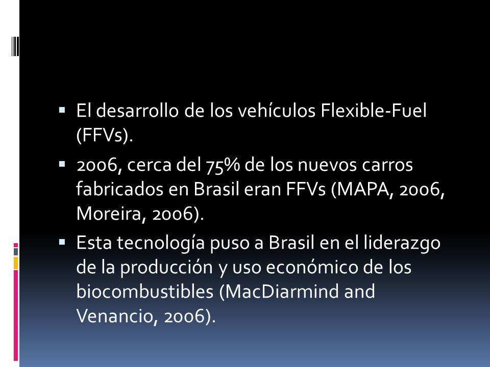 El desarrollo de los vehículos Flexible-Fuel (FFVs). 2006, cerca del 75% de los nuevos carros fabricados en Brasil eran FFVs (MAPA, 2006, Moreira, 200