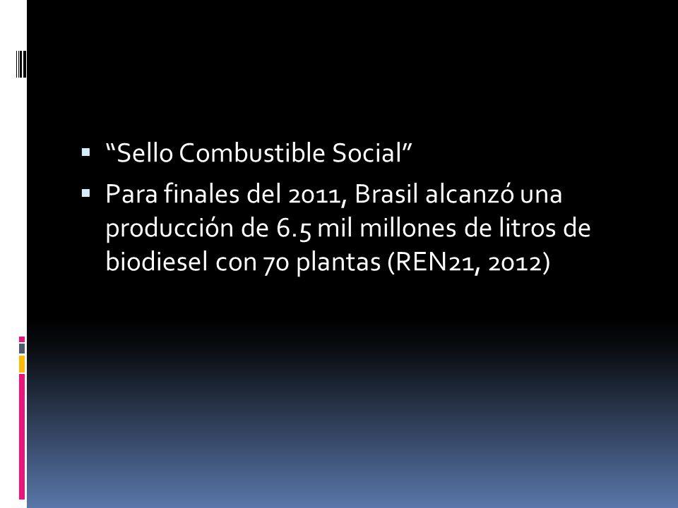 Sello Combustible Social Para finales del 2011, Brasil alcanzó una producción de 6.5 mil millones de litros de biodiesel con 70 plantas (REN21, 2012)