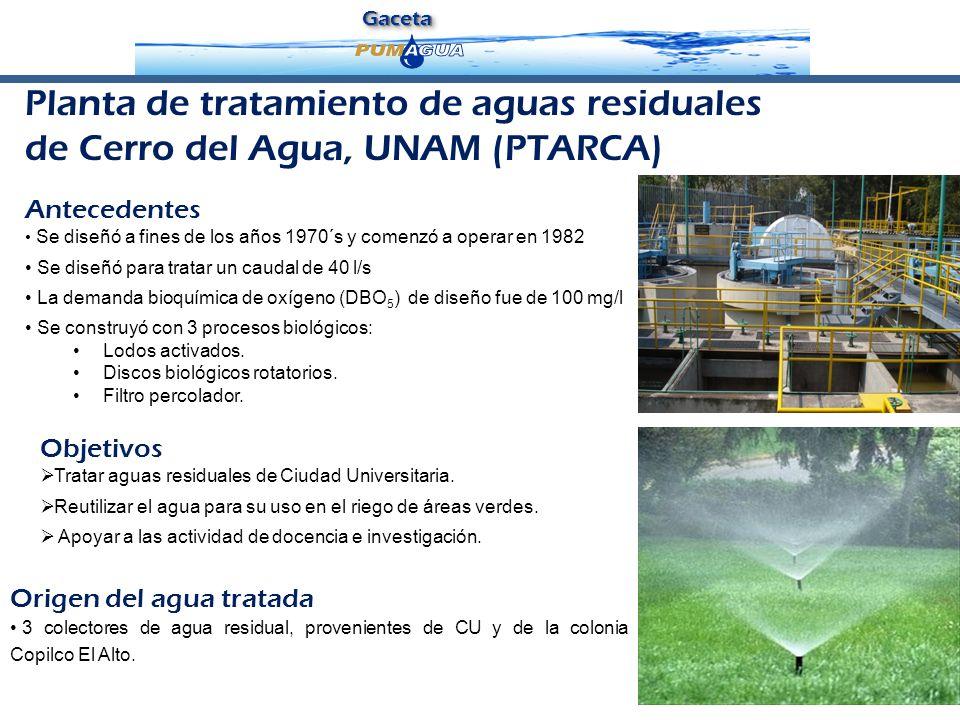 GacetaGaceta Objetivos Tratar aguas residuales de Ciudad Universitaria. Reutilizar el agua para su uso en el riego de áreas verdes. Apoyar a las activ