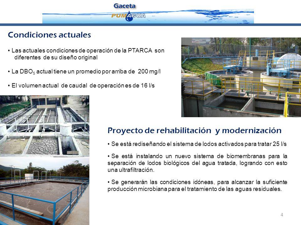 GacetaGaceta 4 Proyecto de rehabilitación y modernización Se está rediseñando el sistema de lodos activados para tratar 25 l/s Se está instalando un n