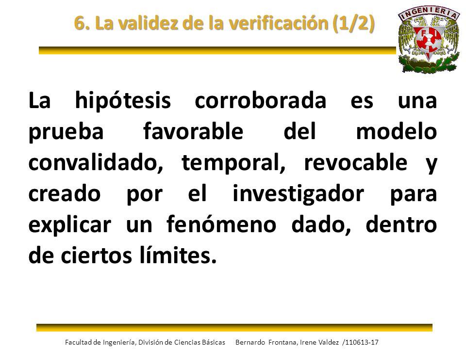 6. La validez de la verificación (1/2) La hipótesis corroborada es una prueba favorable del modelo convalidado, temporal, revocable y creado por el in