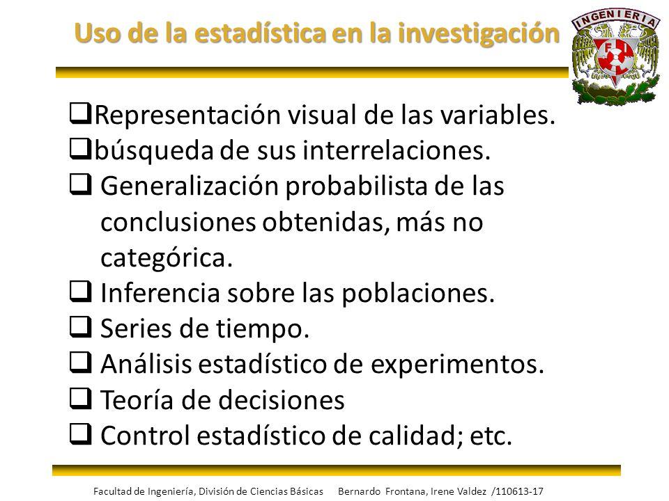 Uso de la estadística en la investigación Representación visual de las variables. búsqueda de sus interrelaciones. Generalización probabilista de las