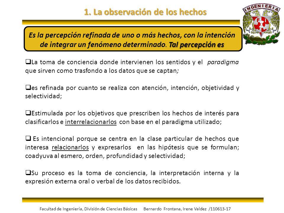 1. La observación de los hechos Tal percepción es Es la percepción refinada de uno o más hechos, con la intención de integrar un fenómeno determinado.
