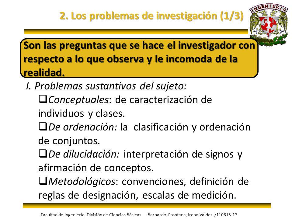 2. Los problemas de investigación (1/3) Son las preguntas que se hace el investigador con respecto a lo que observa y le incomoda de la realidad. I. P