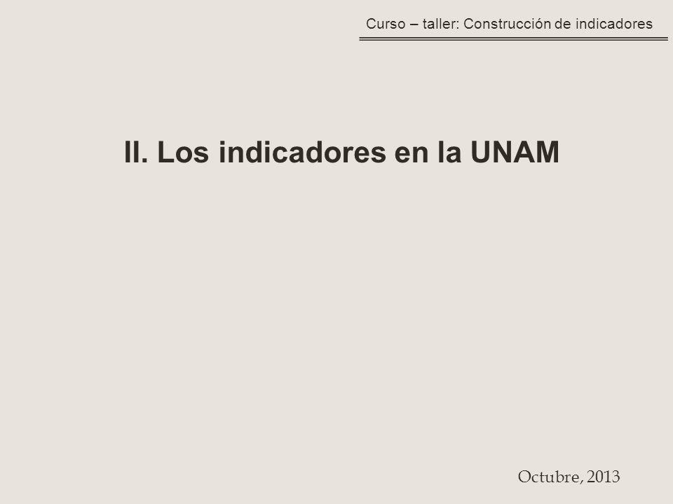 Curso – taller: Construcción de indicadores II. Los indicadores en la UNAM Octubre, 2013