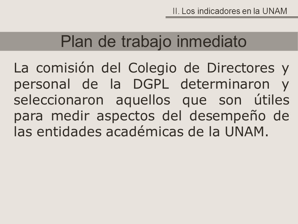 Plan de trabajo inmediato II. Los indicadores en la UNAM La comisión del Colegio de Directores y personal de la DGPL determinaron y seleccionaron aque