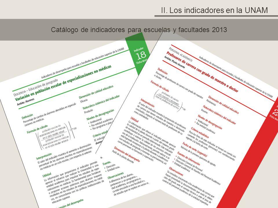 Catálogo de indicadores para escuelas y facultades 2013 II. Los indicadores en la UNAM
