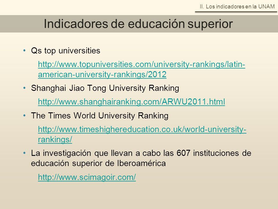 Indicadores de educación superior Qs top universities http://www.topuniversities.com/university-rankings/latin- american-university-rankings/2012 Shan