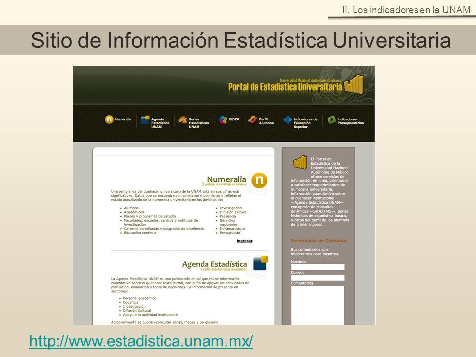 http://www.estadistica.unam.mx/ Sitio de Información Estadística Universitaria II. Los indicadores en la UNAM
