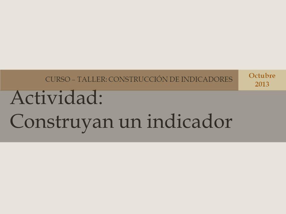Actividad: Construyan un indicador CURSO – TALLER: CONSTRUCCIÓN DE INDICADORES Octubre 2013