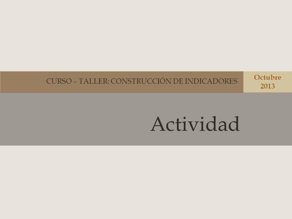Actividad CURSO – TALLER: CONSTRUCCIÓN DE INDICADORES Octubre 2013