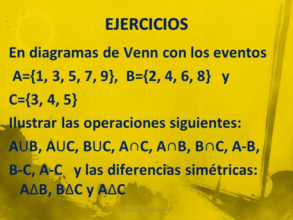 En diagramas de Venn con los eventos A={1, 3, 5, 7, 9}, B={2, 4, 6, 8} y C={3, 4, 5} Ilustrar las operaciones siguientes: AUB, AUC, BUC, AC, AB, BC, A-B, B-C, A-C y las diferencias simétricas: AB, BC y AC Barnardo F.
