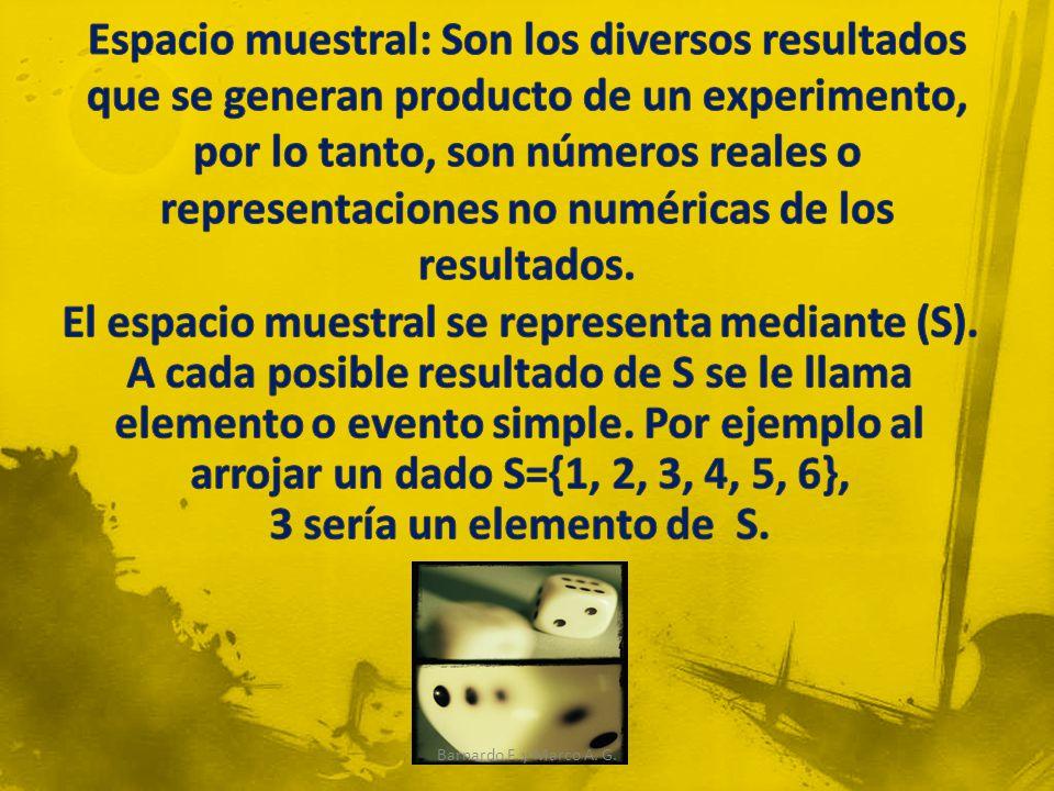 Discretos: cuando solamente toma algunos valores reales dentro de un intervalo o valores no numéricos, por ejemplo, al arrojar un dado S={1, 2, 3, 4, 5, 6}, los valores que toma son únicamente los enteros dentro del intervalo [1,6].