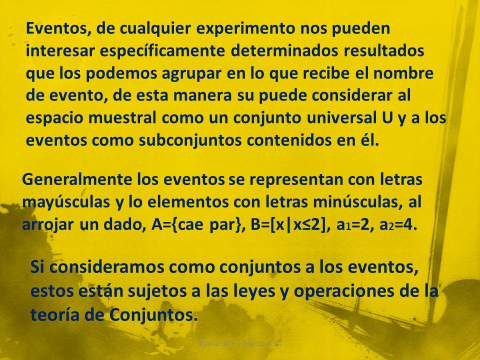 Eventos, de cualquier experimento nos pueden interesar específicamente determinados resultados que los podemos agrupar en lo que recibe el nombre de evento, de esta manera su puede considerar al espacio muestral como un conjunto universal U y a los eventos como subconjuntos contenidos en él.
