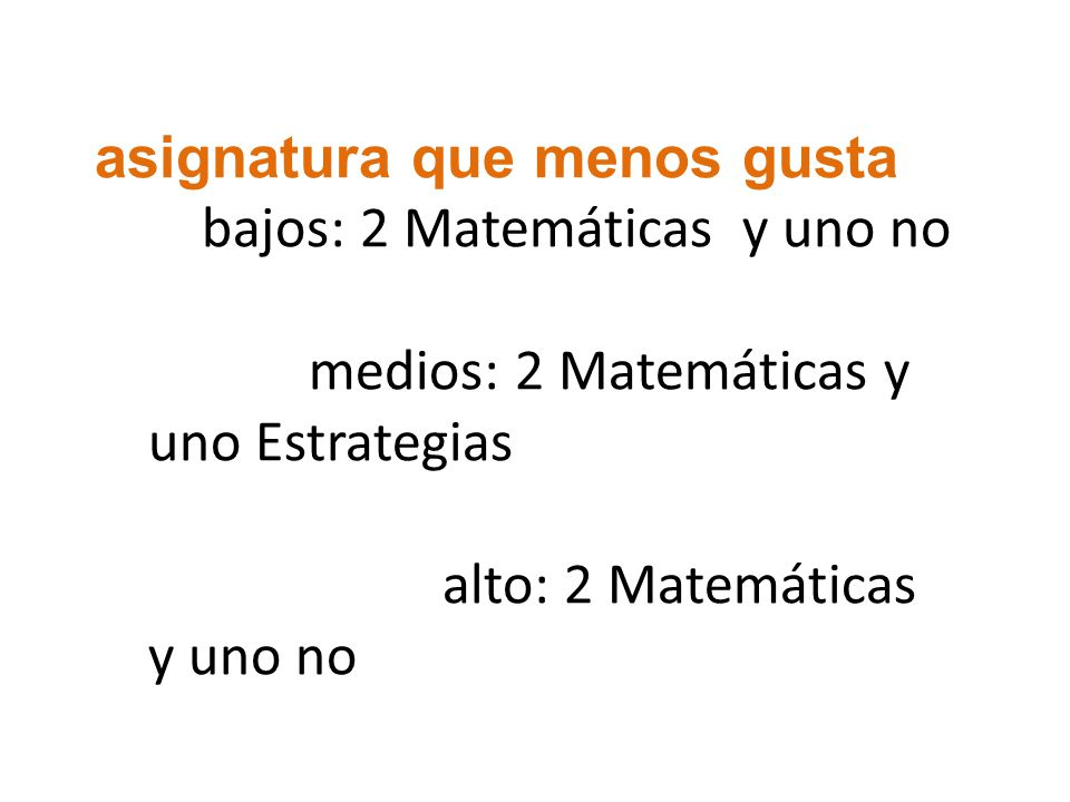 asignatura que menos gusta bajos: 2 Matemáticas y uno no medios: 2 Matemáticas y uno Estrategias alto: 2 Matemáticas y uno no