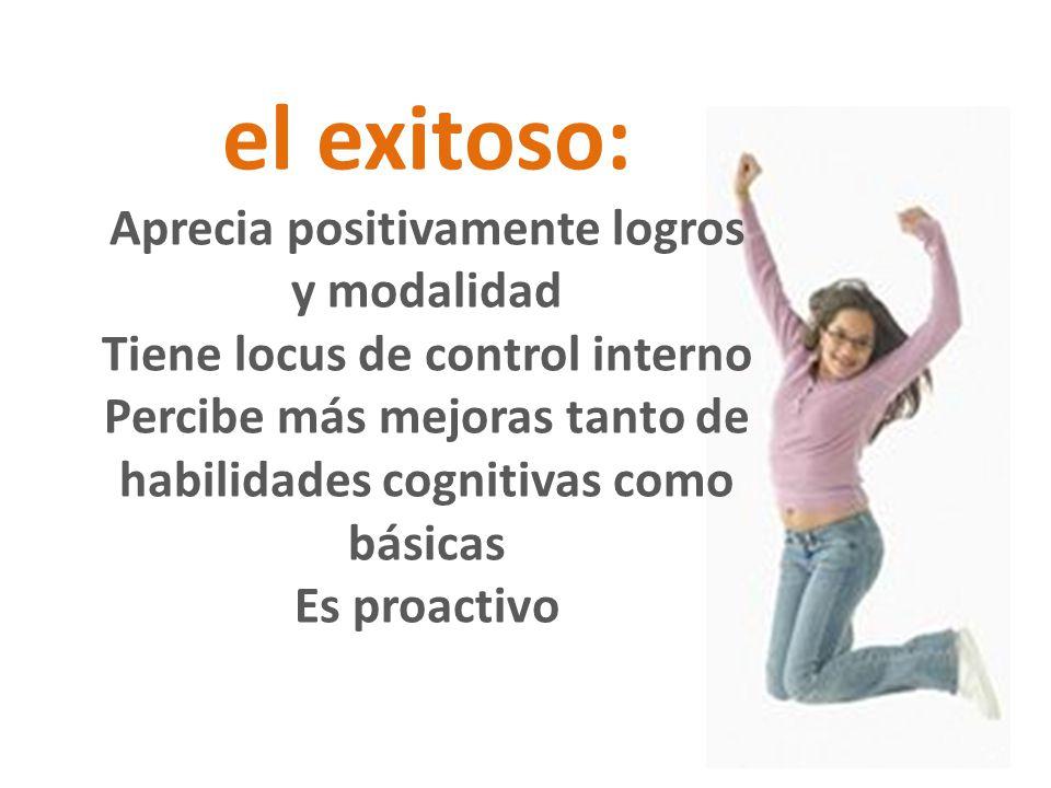 el exitoso: Aprecia positivamente logros y modalidad Tiene locus de control interno Percibe más mejoras tanto de habilidades cognitivas como básicas E