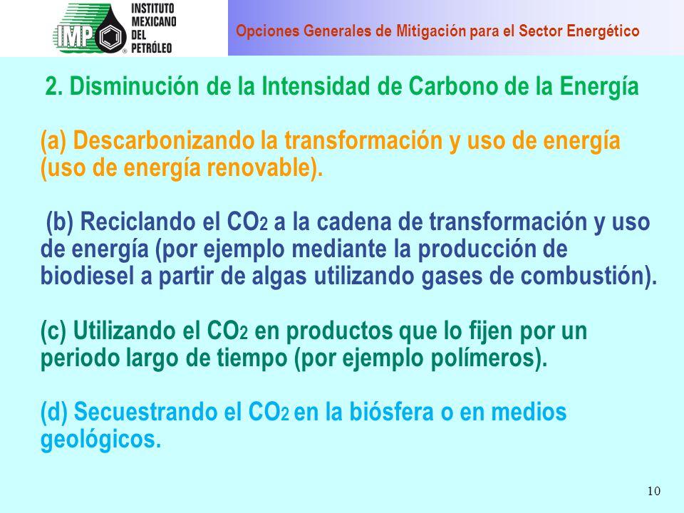 10 2. Disminución de la Intensidad de Carbono de la Energía (a) Descarbonizando la transformación y uso de energía (uso de energía renovable). (b) Rec