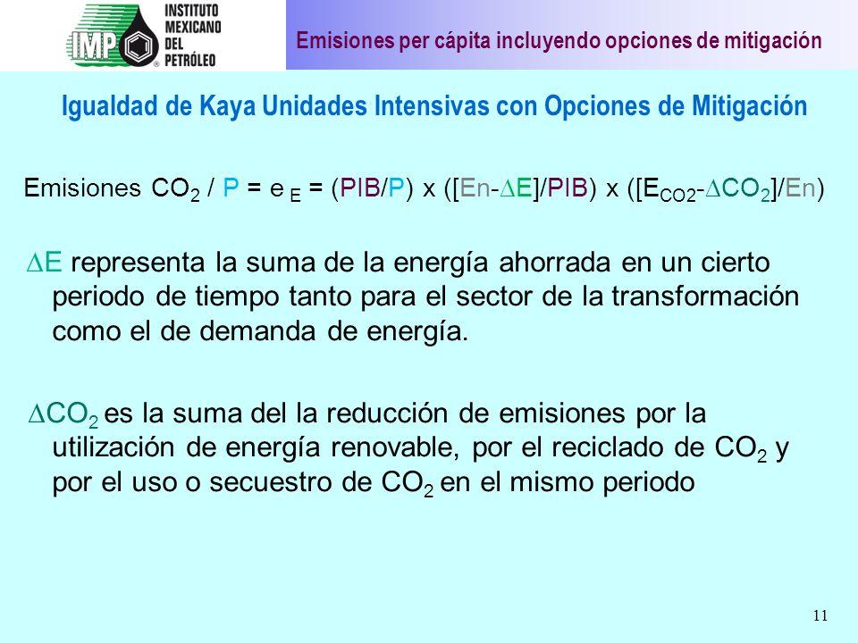 11 Igualdad de Kaya Unidades Intensivas con Opciones de Mitigación Emisiones CO 2 / P = e E = (PIB/P) x ([En- E]/PIB) x ([E CO2 - CO 2 ]/En) E represe