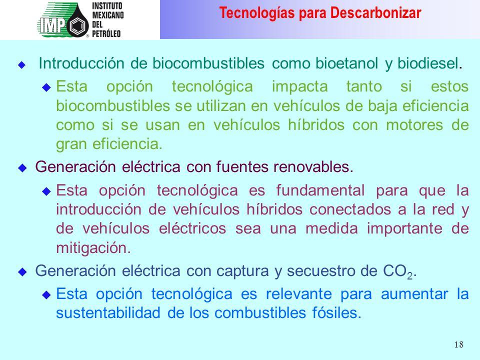 18 Introducción de biocombustibles como bioetanol y biodiesel. u Esta opción tecnológica impacta tanto si estos biocombustibles se utilizan en vehícul