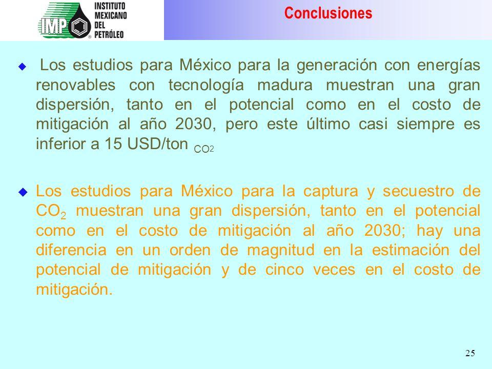 25 Los estudios para México para la generación con energías renovables con tecnología madura muestran una gran dispersión, tanto en el potencial como