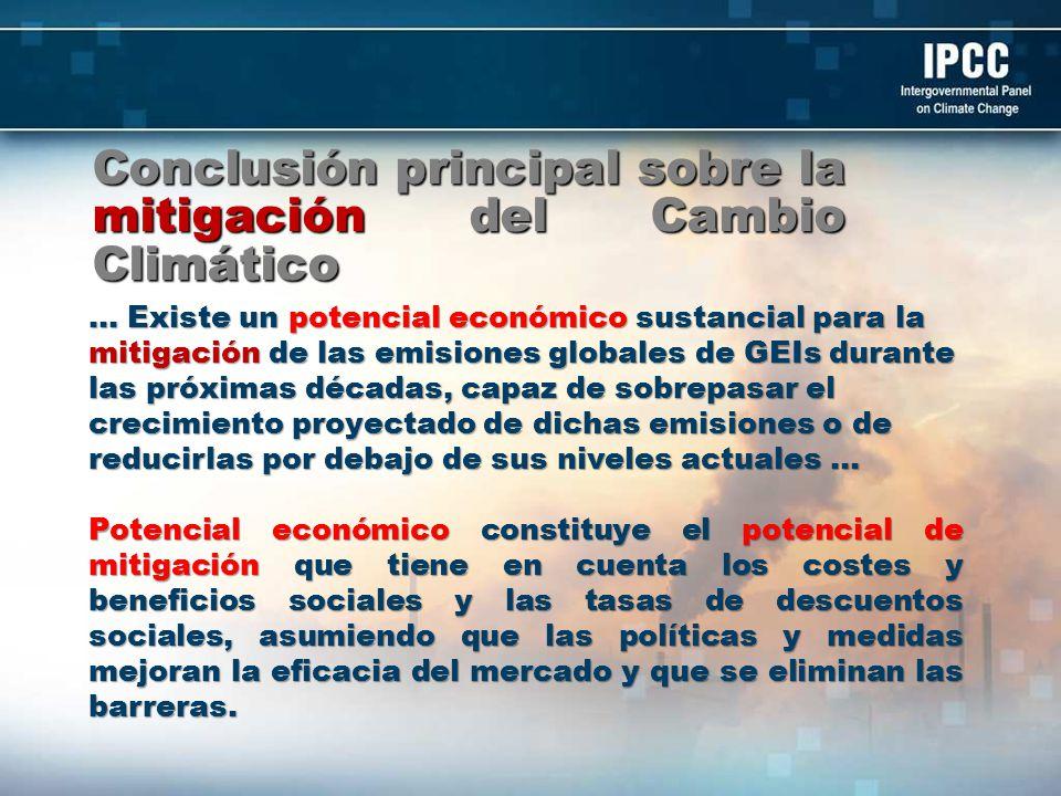 Opciones de Mitigación Uso Biocombustibles en México Tecnología Potencial de Reducción Emisiones en 2030 (MtonCO 2e ) Costo de mitigación (USD/ton CO 2 ) Estudio Bioetanol de Caña de Azúcar.16.8 11.3 MEDEC 6.0 -5.6 McKinsey_ INE Bioetanol de Celulosa (Pasto)105.0 McKinsey_ INE Bioetanol de Sorgo5.15.3MEDEC Biodiesel de Aceite de Palma2.46.4MEDEC