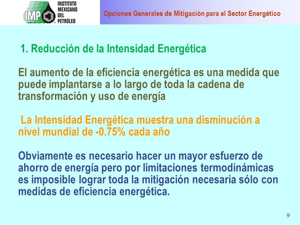 9 1. Reducción de la Intensidad Energética El aumento de la eficiencia energética es una medida que puede implantarse a lo largo de toda la cadena de