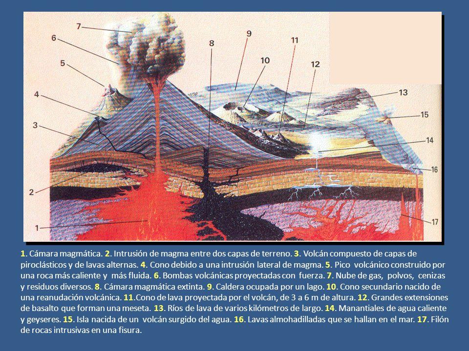 1. Cámara magmática. 2. Intrusión de magma entre dos capas de terreno. 3. Volcán compuesto de capas de piroclásticos y de lavas alternas. 4. Cono debi