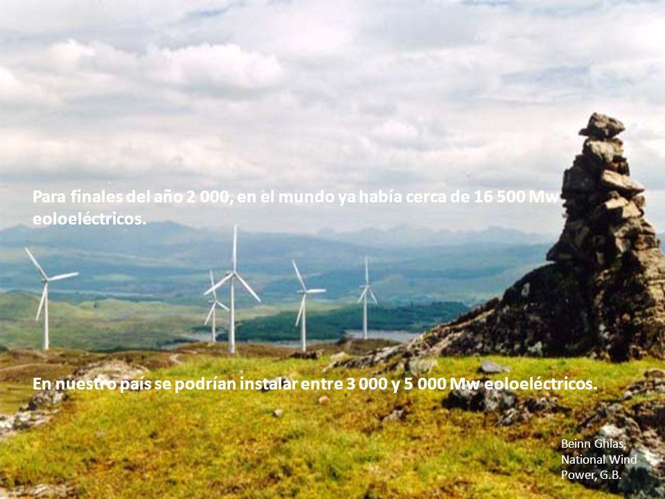 Para finales del año 2 000, en el mundo ya había cerca de 16 500 Mw eoloeléctricos. Beinn Ghlas, National Wind Power, G.B. En nuestro país se podrían