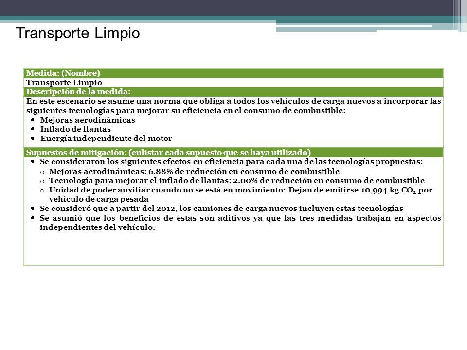 Transporte Limpio Medida: (Nombre) Transporte Limpio Descripción de la medida: En este escenario se asume una norma que obliga a todos los vehículos d