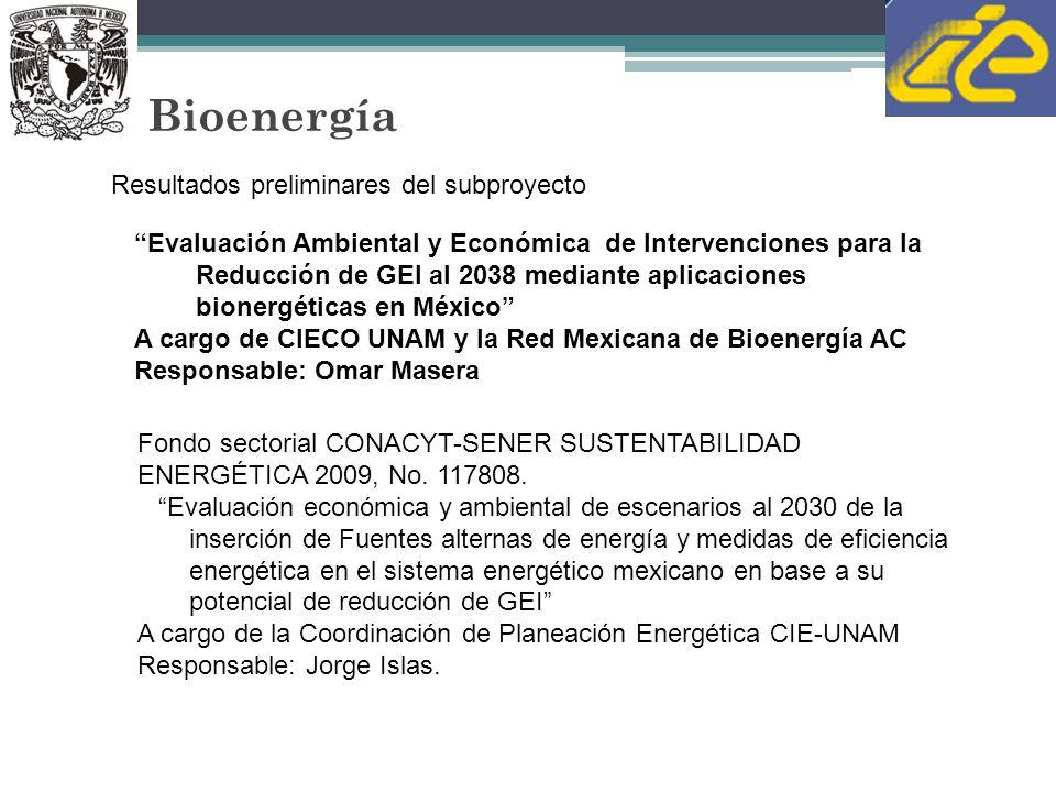 Bioenergía Evaluación Ambiental y Económica de Intervenciones para la Reducción de GEI al 2038 mediante aplicaciones bionergéticas en México A cargo de CIECO UNAM y la Red Mexicana de Bioenergía AC Responsable: Omar Masera Resultados preliminares del subproyecto Fondo sectorial CONACYT-SENER SUSTENTABILIDAD ENERGÉTICA 2009, No.