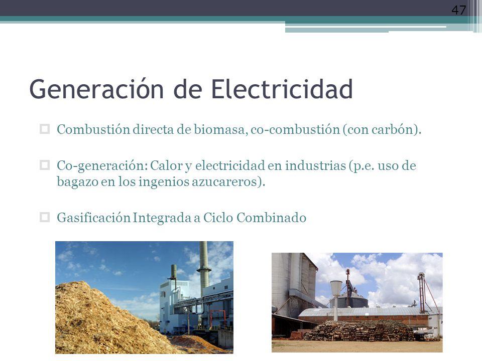 Generación de Electricidad Combustión directa de biomasa, co-combustión (con carbón). Co-generación: Calor y electricidad en industrias (p.e. uso de b