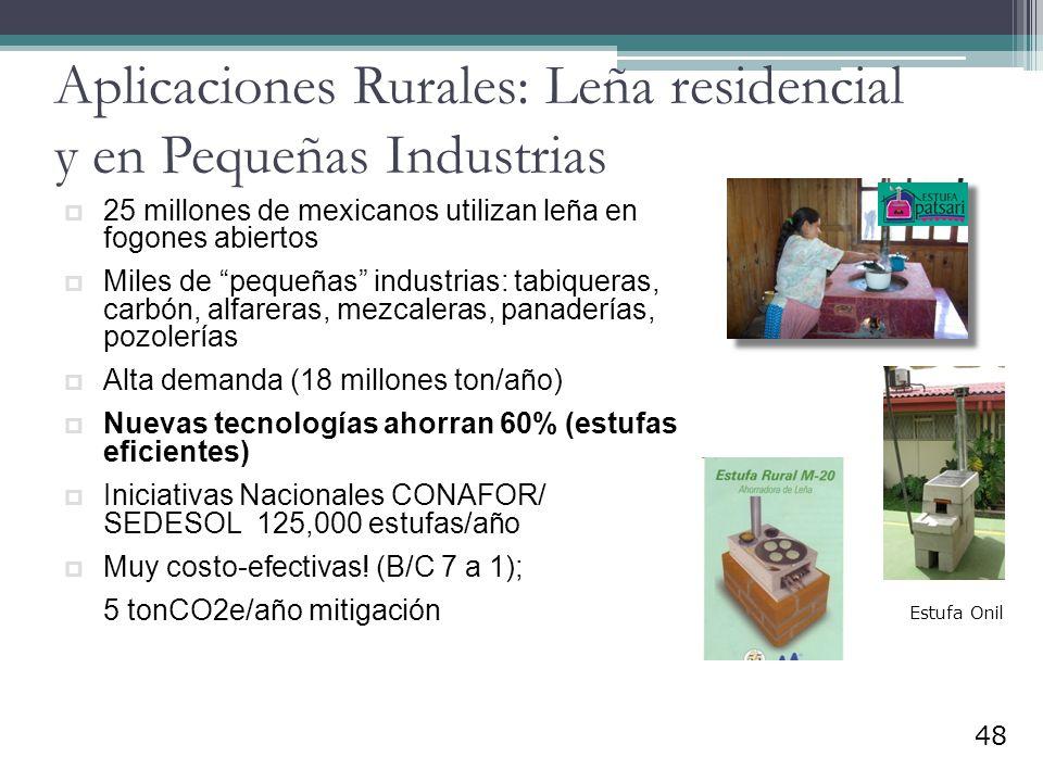 Aplicaciones Rurales: Leña residencial y en Pequeñas Industrias 25 millones de mexicanos utilizan leña en fogones abiertos Miles de pequeñas industria