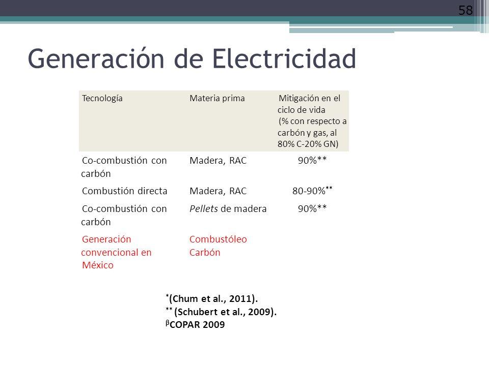 Generación de Electricidad 58 TecnologíaMateria primaMitigación en el ciclo de vida (% con respecto a carbón y gas, al 80% C-20% GN) Co-combustión con carbón Madera, RAC90%** Combustión directaMadera, RAC80-90% ** Co-combustión con carbón Pellets de madera90%** Generación convencional en México Combustóleo Carbón * (Chum et al., 2011).