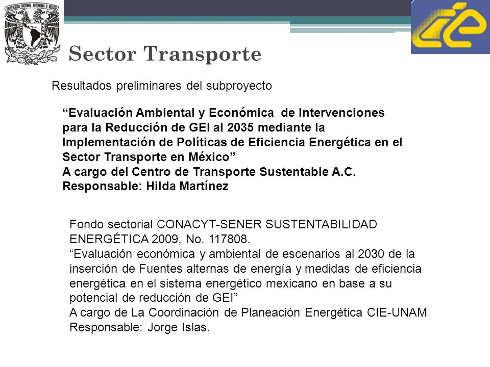 Sector Transporte Evaluación Ambiental y Económica de Intervenciones para la Reducción de GEI al 2035 mediante la Implementación de Políticas de Efici